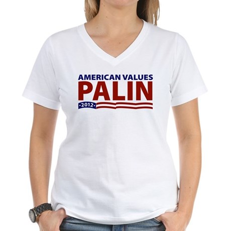Palin American Values Women's V-Neck T-Shirt