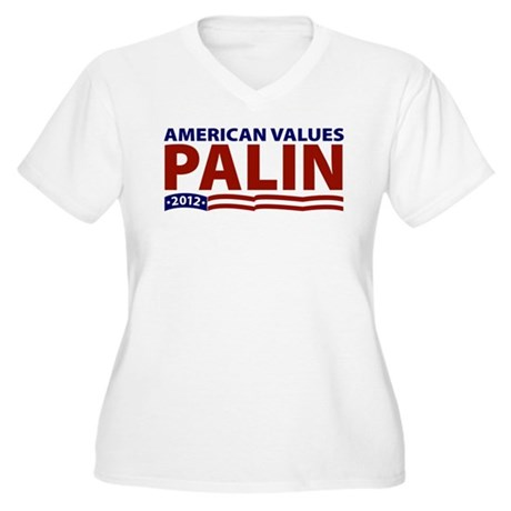 Palin American Values Women's Plus Size V-Neck T-S
