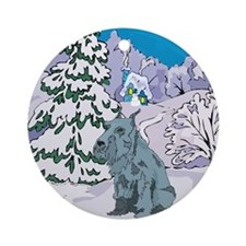 Winter Wonderland Schnauzer Ornament (Round)