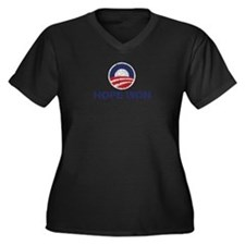 Hope Won (Obama) Women's Plus Size V-Neck Dark T-S