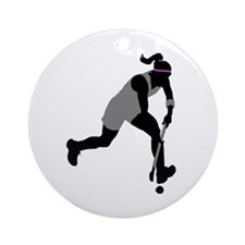 Field Hockey Girl Ornament (Round)