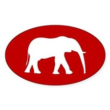 Red/White Elephant Oval Decal