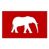 Red/White Elephant Rectangle Decal