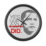 "Obama ""YES WE DID."" Large Wall Clock"