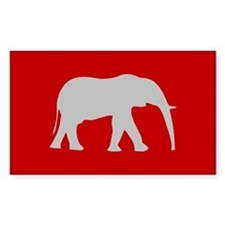 Red/Grey Elephant Rectangle Decal