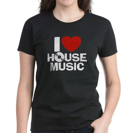 I Love House Music Women's Dark T-Shirt