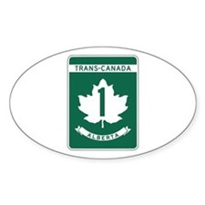 Trans-Canada Highway, Alberta Oval Sticker (10 pk)