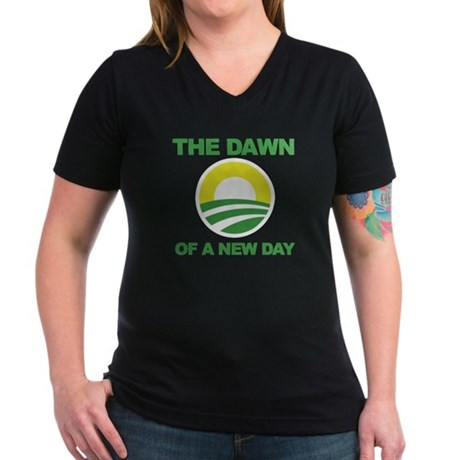 The Dawn of a New Day Obama Women's V-Neck Dark T-