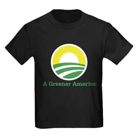 Obama for a Greener America Kids Dark T-Shirt