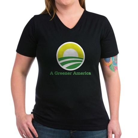 Obama for a Greener America Women's V-Neck Dark T-