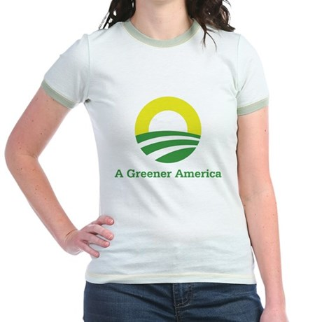 Obama for a Greener America Jr. Ringer T-Shirt