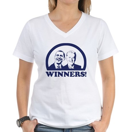 Winners! Obama and Biden Women's V-Neck T-Shirt