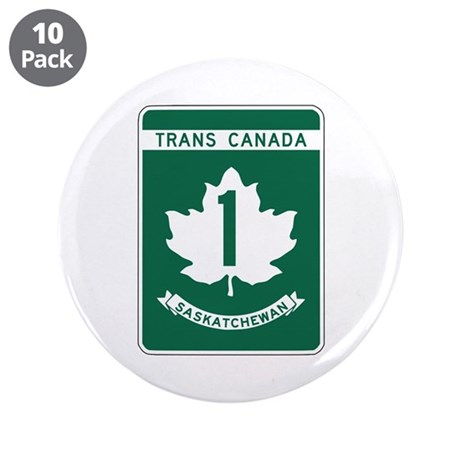 "Trans-Canada Highway, Saskatchewan 3.5"" Button (10"