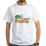 Powered By Pasta Funny Runner White T-Shirt