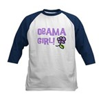 Flower Power Obama Girl Kids Baseball Jersey