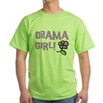 Flower Power Obama Girl Green T-Shirt