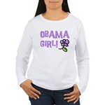 Flower Power Obama Girl Women's Long Sleeve T-Shir