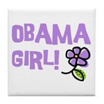 Flower Power Obama Girl Tile Coaster
