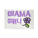 Flower Power Obama Girl Rectangle Magnet (10 pack)