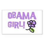 Flower Power Obama Girl Rectangle Sticker