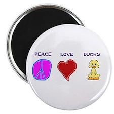 """Peace Love Ducks 2.25"""" Magnet (10 pack)"""