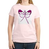 Breast Cancer Butterfly Women's Pink T-Shirt