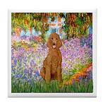 Garden/Std Poodle (apricot) Tile Coaster