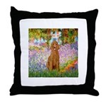 Garden/Std Poodle (apricot) Throw Pillow