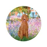 "Garden/Std Poodle (apricot) 3.5"" Button"