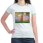 Garden/Std Poodle (apricot) Jr. Ringer T-Shirt