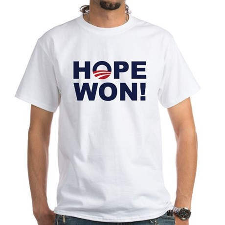 Hope Won! (Obama Symbol) White T-Shirt