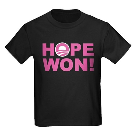 Hope Won (Obama - Pink) Kids Dark T-Shirt