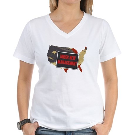 USA Under New Management Women's V-Neck T-Shirt