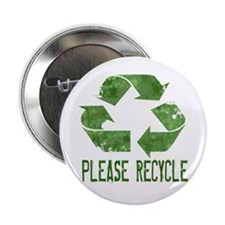 "Please Recycle Grunge 2.25"" Button (10 pack)"