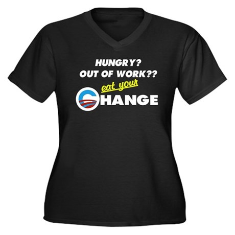 Eat Your Change Women's Plus Size V-Neck Dark T-Sh