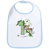 Stick Monkey Swing 1st Birthday Bib