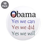 """Obama: Yes we will 3.5"""" Button (10 pack)"""