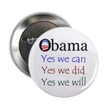 """Obama: Yes we will 2.25"""" Button"""