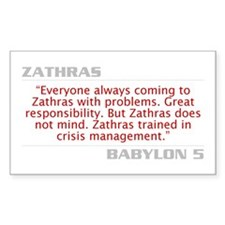 "Zathras ""Crisis Management"" Rectangle Decal"