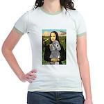 Mona Lia/Std Poodle (silver) Jr. Ringer T-Shirt