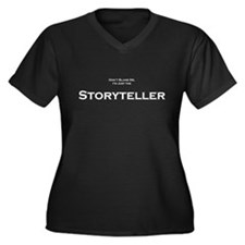 Storyteller Women's Plus Size V-Neck Dark T-Shirt