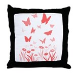 Butterfly & Flowers, Landscape Art Throw Pillow