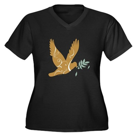 Golden Dove Women's Plus Size V-Neck Dark T-Shirt