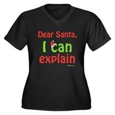 Santa I Can Explain Women's Plus Size V-Neck Dark