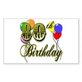 80th Birthday Rectangle Decal