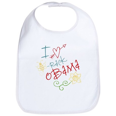 I Love Heart Bee-rack Obama Bib