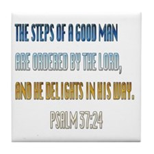 Psalms 37:23 Tile Coaster