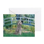 Bridge/Std Poodle silver) Greeting Card