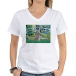 Bridge/Std Poodle silver) Women's V-Neck T-Shirt