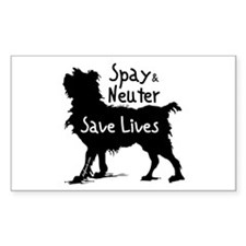 Save Lives Spay & Neuter (Dog) Sticker (Rectangula